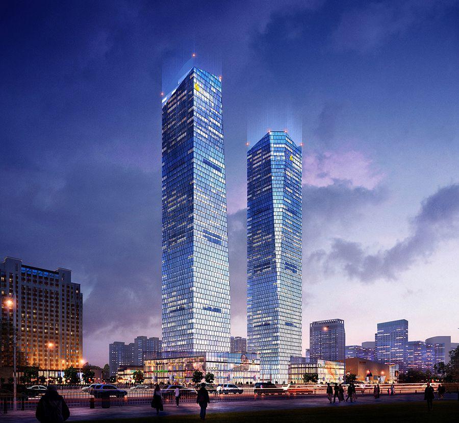 名称:西安绿地 详述:西安绿地中心地处西安高新区中央商务区,项目总建筑面积约32万平方米,投资金额约35.2亿元,将建成集甲级办公、奢侈品牌旗舰店、高档百货、大型超市等为一体的超高层双子塔综合楼。这两座楼地面高度均为270米,其中结构高度243米,分处于丈八二路与锦业路十字的东北与西北角,两座楼之间间隔约100米。楼宇设计高度57层,其中底下4层为顶级商业楼层,将吸纳高端商户入驻;4层以上为办公区,为入驻的企业提供舒适的办公环境。另外,地下还有3层,负一层为商场,负二、三层为停车场和机房。